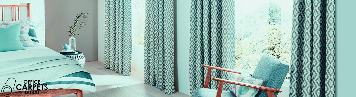 pattern-blackout-curtain-bedroom by officecarpets.ae installer