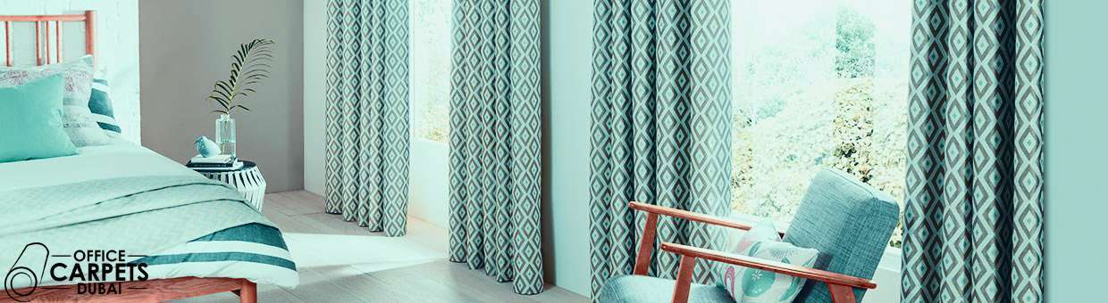 Green Curtains black and green curtains : Blackout Curtains & Drapes In Dubai | Office Carpets Tiles